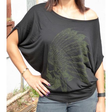 Sick Boy Ladies Black Indian Dolman T-shirt front