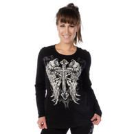 Black Souls Celtic Cross Long Sleeve Shirt front