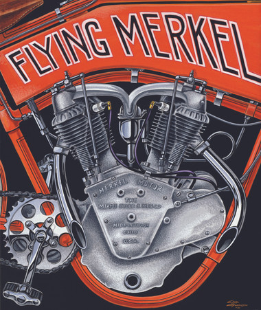 1914 Flying Merkel Race Engine Poster