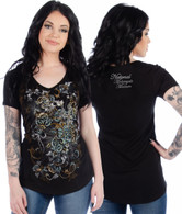 Faith and Roses Black Short Sleeve Shirt