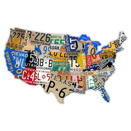 License Plate USA Custom Shaped Metal Sign