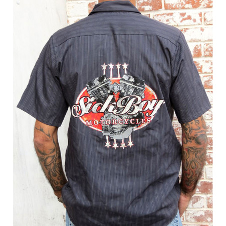 Sick Boy Motorcycles Charcoal Pinstripe Work Shirt back