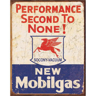 Mobilgas - Performance Second to None Metal Sign