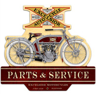 Excelsior 'Parts & Service' Motorcycle Metal Sign