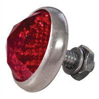 Glass Antique Style Gem-Cut Jewel Reflector - Red