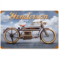 Henderson 'Clouds' Motorcycle Metal Sign
