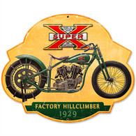 'Super X' Hill Climber Motorcycle Metal Sign