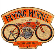 'Flying Merkel' Motorcycle Metal Sign
