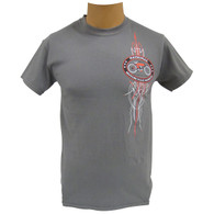National Motorcycle Museum 'Pinstripe' Charcoal T-Shirt front