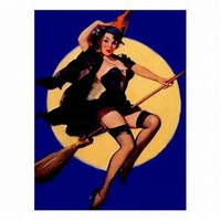Babe on a Broomstick ~ Sexy Woman Moonbeams and Starlight Stunning Allure Attraction Adoration spell