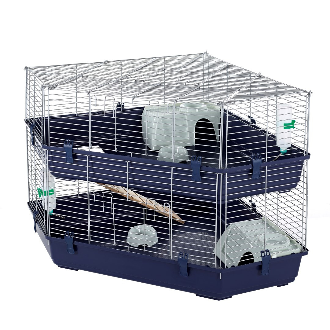 indoor double corner cage rabbit guinea pig by little. Black Bedroom Furniture Sets. Home Design Ideas