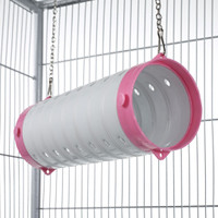 Beige Straight Ferret Play Tube With Chains - Pink End