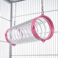 Clear Straight Ferret Play Tube With Chains - Pink End