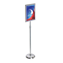 """11""""W x 17""""H Two-Sided Slide-in Frame Sign Holder with Metal Pedestal Stand"""