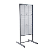 "Two-Sided Metal Frame Pegboard Floor Display. Panel Size: 24""W x 48""H (CLEAR ONLY)"
