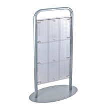 "CLOSEOUT: Two-Sided Metal Tube Pegboard Floor Display. Panel Size: 24""W x 48""H (CLEAR ONLY)"