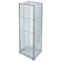 """Four-Sided Pegboard Tower Floor Display on Revolving Base. Panel Size: 16""""W x 60""""H"""