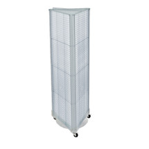 """Three-Sided Pegboard Tower Floor Display on Wheeled Base. Panel Size: 16""""W x 60""""H"""