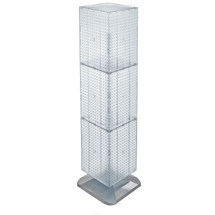 """Four-Sided Pegboard Tower Floor Display on Revolving Base. Panel Size: 14""""W x 60""""H"""