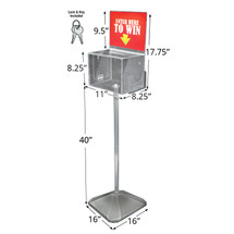 (Clear) Extra Large Lottery Box with Pocket, Lock and Keys on Pedestal