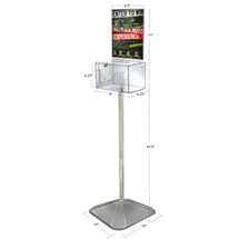 (Clear) Large Lottery Box with Pocket, Lock and Keys on Pedestal