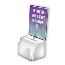 White Medium Molded Lottery Box with Pocket, Lock and Key