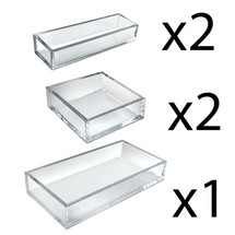 Deluxe Tray 5 Piece Set - Square Trays, Narrow Trays and Large Tray