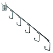 """15""""L Five Hook Chrome Waterfall Faceout Hook. 1.25"""" Between Each Station: Hooks 0.25"""" Dia."""