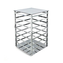 """4-Sided Chrome Earring Counter Display, w/o hooks. Overall Measurement: 12""""W x 12""""D x 19""""H"""