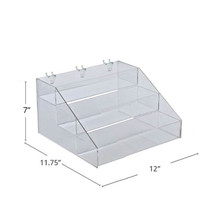 "Three-Tier Step Display: 12""W x 11.75""D x 7""H"