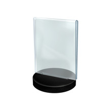 """5.5""""W x 8.5""""H  Vertical Frame on a Weighted Black Round Base"""