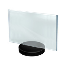 """11""""W x  8.5""""H Horizontal Frame on a Weighted Black Round Base"""