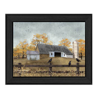 "BJ1095-405 BLK ""A Casual Conversation"" is a 16"" x 12"" art print framed in a Colonial 405 Black frame of the art of American artist,  Billy Jacobs. The art shows a rustic setting of an old stone and wood barn, a silo, fences, trees and birds. The print has an archival, protective, textured finish so no glass is needed, and is ready to hang. Made in the USA by skilled American workers. Thank you for your support."