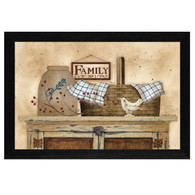 "LS1543-276 BLK ""Family Still life"" is a 20""x14""print framed in a 276 Black frame.  This artwork by artist Linda Spivey. features a rustic pie safe with a top shelf full of beautiful primitive style keepsakes including a pie bird, woven basket, crock, rosehip berries, blue gingham napkin and sign that says ""Family No 1"".  The print has an archival, protective, textured finish so no glass is needed, and is ready to hang. Made in the USA by skilled American workers. Thank you for your support."