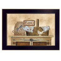 "LS1543-712 BLK ""Family Still life"" is a 20""x14""print framed in a 712 Black frame.  This artwork by artist Linda Spivey. features a rustic pie safe with a top shelf full of beautiful primitive style keepsakes including a pie bird, woven basket, crock, rosehip berries, blue gingham napkin and sign that says ""Family No 1"".  The print has an archival, protective, textured finish so no glass is needed, and is ready to hang. Made in the USA by skilled American workers. Thank you for your support."