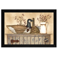 "LS1547-276 BLK ""Duck and Berry Still life"" is a 20""x14""print framed in a 276 Black frame.  This artwork by artist Linda Spivey. features a rustic hutch with a top shelf full of beautiful primitive style keepsakes including wooden goose carving, woven basket, pitcher, rosehip berries, and a blue gingham napkin. The print has an archival, protective, textured finish so no glass is needed, and is ready to hang. Made in the USA by skilled American workers. Thank you for your support."
