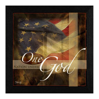 "MA125-276 BLK ""One Nation Under God"" is a 14""x14"" print framed in a 276 Black frame.  This artwork by artist Marla Rae. features a design of an American flag with the text ƒ??One Nation Under Godƒ?. The print has an archival, protective, textured finish so no glass is needed, and is ready to hang. Made in the USA by skilled American workers. Thank you for your support."