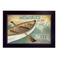 "MA1005-712BLK ""Memories at the Lake"" is a 18""x12"" art print framed in 712 Black of the art of American artist, Marla Rae. It shows a decorative artwork of a row boat with a paddle in a lake and the script ""Memories at the lake gathered here Daily"". The print has an archival, protective, textured finish so no glass is needed, and is ready to hang. Made in the USA by skilled American workers."