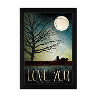 "MA1085-276 BLK  ""Love you Farm"" is a framed art print of the art by American artist, Marla Rae. It is one of our popular 14""x20""prints and is framed in our 276 Black Frame style. It shows the silhouette of a rural scene in a moonlit sky with the script ""Love you to the moon and back."" It is a totally American-made product, and has an archival, textured protective finish so no glass is needed and comes ready to hang."