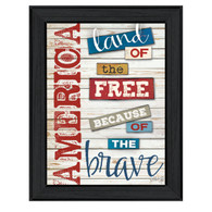 "MA1092-405 BLK ""America"" is a 12""x16"" print framed in Colonial 405 Black of the art of Marla Rae. The print shows artistic typography in patriotic colors ""America land of the free because of the brave."" The print has an archival, protective, textured finish so no glass is needed, and is ready to hang. Made in the USA by skilled American workers. Thank you for your support."