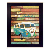"MA1101-712 BLK ""Let the Journey Begin"" is a 12""x16"" art print framed in a 712 Black frame. Artist Marla Rae designed an interesting textured design with a vintage Volkswagen bus and a peace sign on the front with typography ""Let the Journey Begin."" The framed art print has a protective textured, archival finish, so no glass is needed, and comes ready to hang. Made in the USA with pride!"