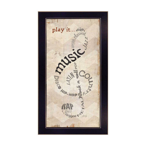 """MA1133-712BLK """"Play It"""" is a 9""""x18"""" print framed in a 712 Black frame of the art of American artist, Marla Rae. It shows a musical note made from typography with words about music genres. The art is in natural colors with an attractive, decorative design. The print has an archival, protective, textured finish so no glass is needed, and is ready to hang. Made in the USA by skilled American workers."""