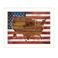 "MA2075-712 WHT ""American Flag USA Map"" is a  26""x20""print framed in a 712 White frame.  This artwork by artist Marla Rae features a rustic design of an American flag with a wood grain map of the United States on it. The print has an archival, protective, textured finish so no glass is needed, and is ready to hang. Made in the USA by skilled American workers."