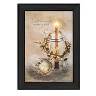 "RLV272-405 BLK ""Make a Wish"" is a 12""x18"" art print framed in Colonial 405 Black of the art of Robin-Lee Vieira. It is a beautiful still life arrangement of a candle, glass jar and vine with the script ""Light a candle, make a wish."" The print has an archival, protective, textured finish so no glass is needed, and is ready to hang. Made with pride in the USA by skilled American workers."