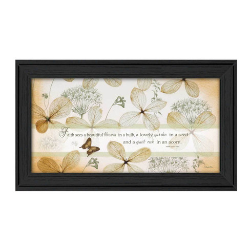 "RLV317-405 BLK ""Faith Sees"" is a 18""x9"" art print framed in Colonial 405 Black of the art of Robin-Lee Vieira. It is a beautiful decorative artwork of butterflies and flowers with script about ""Faith sees a beautiful blossom in a bulb, a lovely garden in a seed, and a giant oak in an acorn"" The print has an archival, protective, textured finish so no glass is needed, and is ready to hang. Made with pride in the USA by skilled American workers."