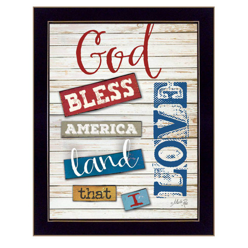 MA1091-712BLK-God-Bless-America-12x16