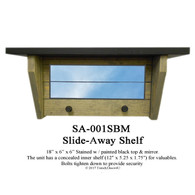 SA-001SBM Slide-Away/Hidden Shelf with a black top & mirror