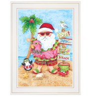 "ART950-226G ""Pink Flamingo Santa"""