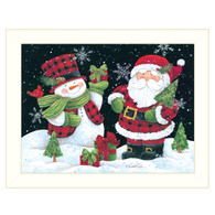 "ART1050-712W  ""Plaid Snowman and Santa"""