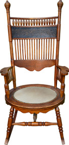 SOLD Oak Press Back Round Seat Rocking Chair